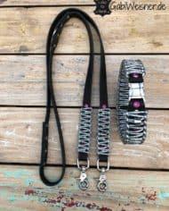 LUXUS-Halsband-und-Leine-pink-silber-schwarz-set-2