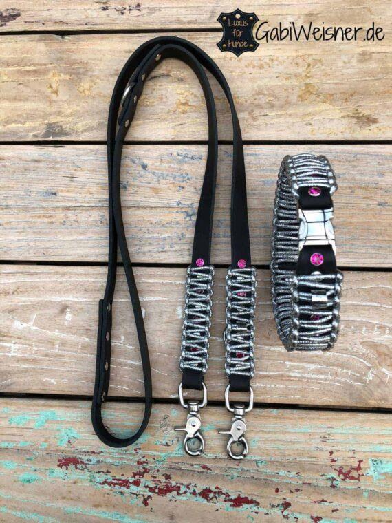 LUXUS Halsband und Leine Leder in Silber, Schwarz und Swarovski in Pink