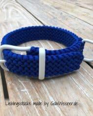 Hundehalsband-Blau-Weiß-3-cm-breit-stufenlos-verstellbar