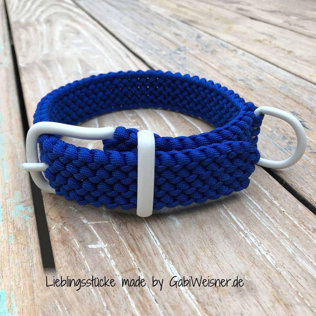 Hundehalsband Blau Weiß 3 cm breit stufenlos verstellbar