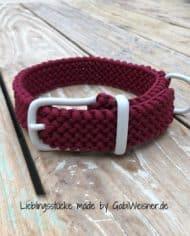 Hundehalsband-Dunkelrot-Weiß-3-cm-breit-stufenlos-verstellbar