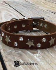 Hundehalsband-Leder-3-cm-breit-verstellbar-Sterne-Swarovski-1