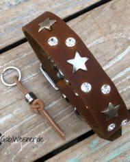 Hundehalsband-Leder-3-cm-breit-verstellbar-Sterne-Swarovski-2