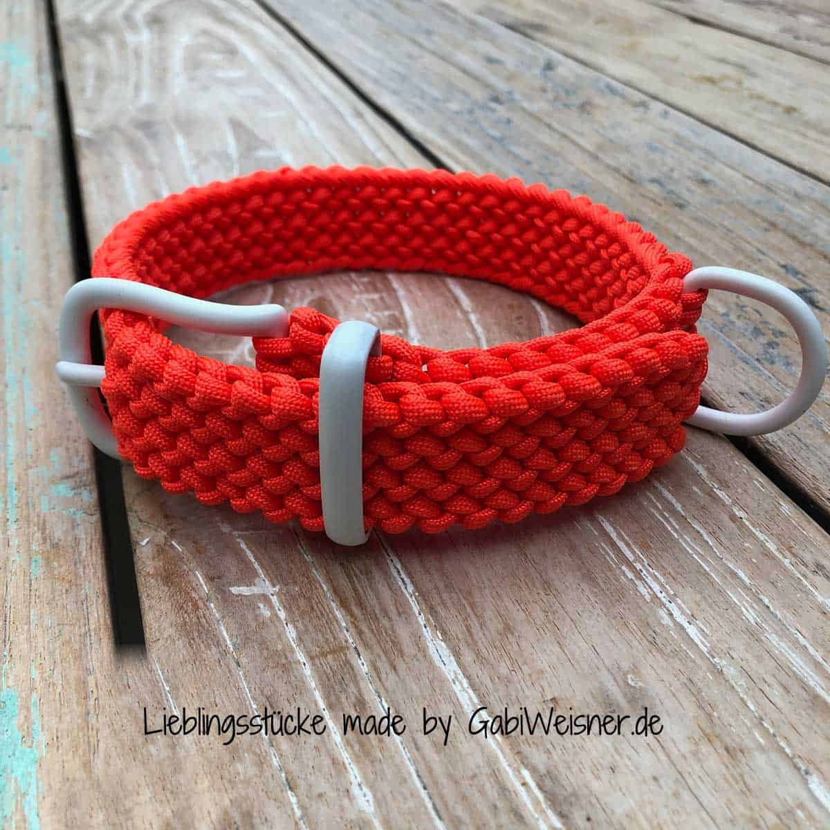 Hundehalsband Orange Weiß