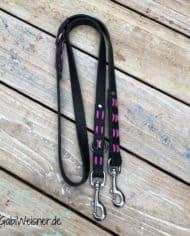 Hundeleine-Leder-2-cm-breit-2-fach-verstellbar-Schwarz-Pink-Candy