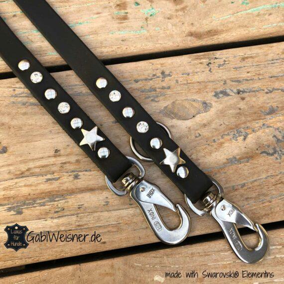 Hundeleine mit Strass und Stern, Leder 2 cm breit, verstellbar, Edelstahl-Karabiner
