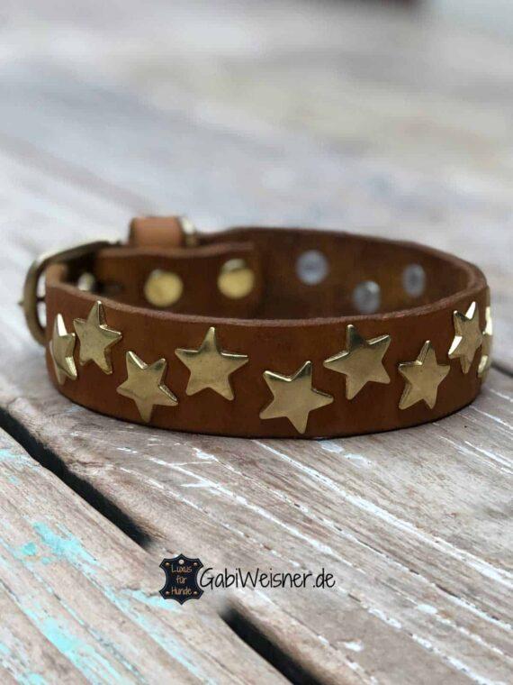 Lederhalsband mit Sternen dekoriert. Eine Lage Leder 3 cm breit