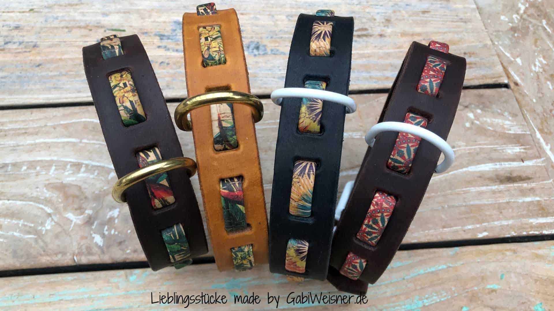 Hundehalsband Dschungel-Look. Leder 3 cm breit dekoriert mit Korkband