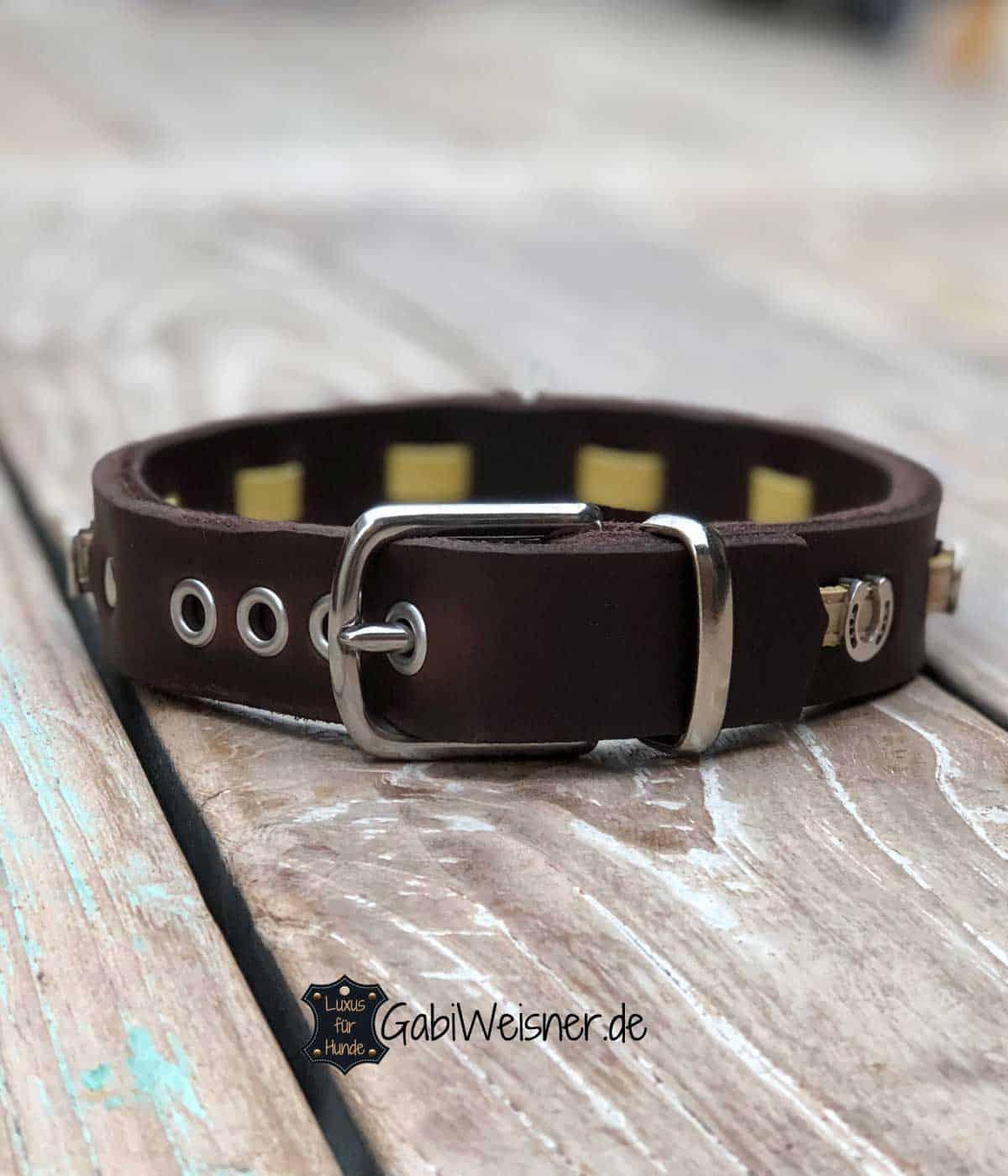 Hundehalsband happy Horse. Leder 3 cm breit, dekoriert mit Kork und Hufeisen.