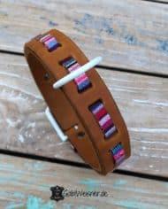 Hundehalsband-Hippie-Look-in-Cognac-und-Rosa-1