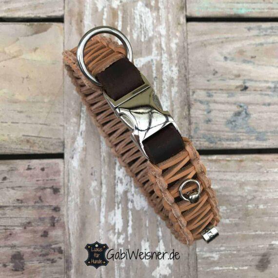 Hundehalsband mit Klickverschluss Leder 30 mm breit für kleine Hunde