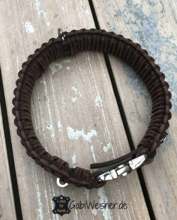 Hundehalsband mit Klickverschluss Leder 40 mm breit. Original Knoten Halsband im Retro Look. Vollrindleder in Braun, Schwarz oder Natur wählbar.