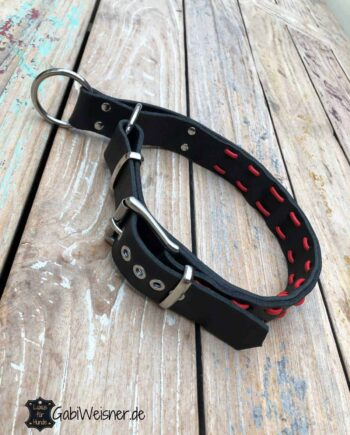 Hundehalsband Zugstopp verstellbar Leder 4 cm breit für große Hunde