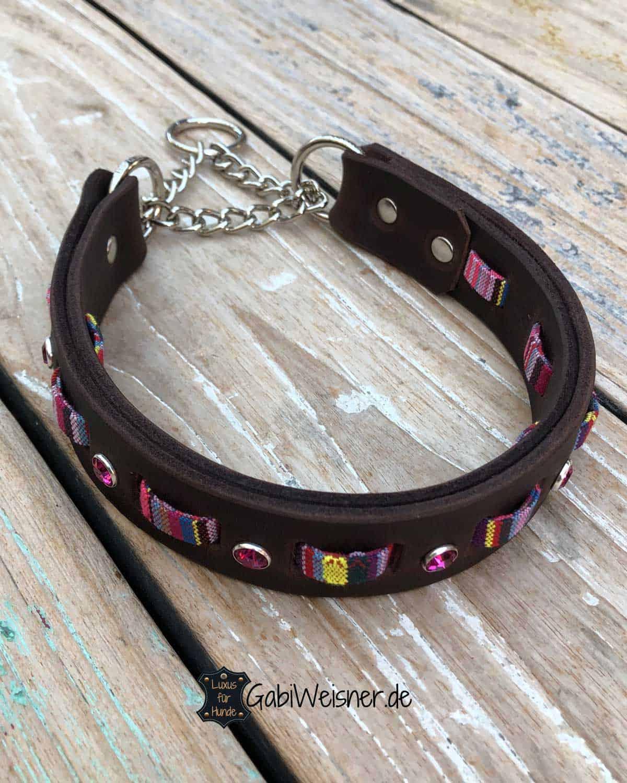 Hundehalsband im Ethno Look dekoriert mit Swarovski Elements in Pink