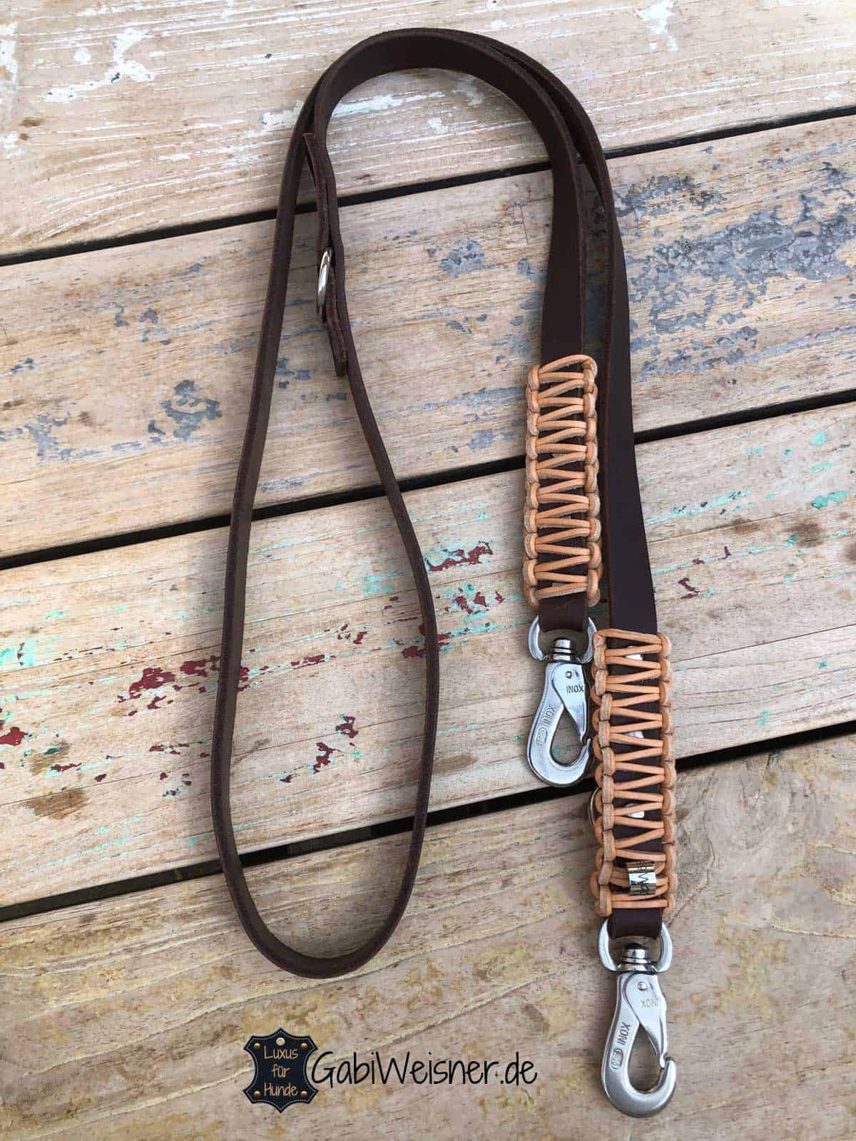 Hundeleine Leder 2 cm breit verstellbar Braun Natur 1,6 m lang