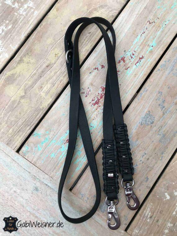 Hundeleine Leder 2 cm breit verstellbar Schwarz 1,6 m lang
