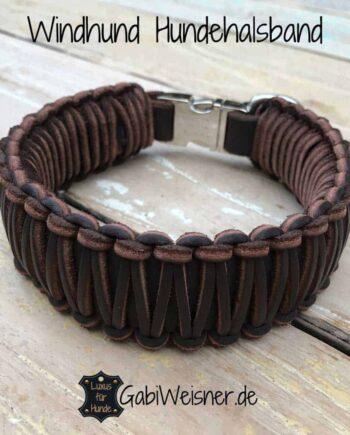 Windhund Hundehalsband mit Klickverschluss Leder 40 mm breit für mittelgroße Hunde