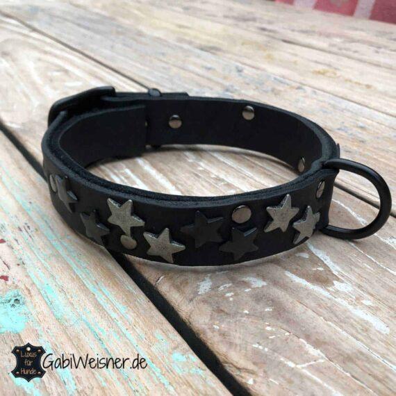 Halsband für große Hunde. Leder in Schwarz