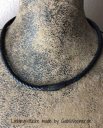 Herren Lederkette 6 mm Rindleder rund geflochten in Schwarz