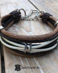 Hundehalsband-Leder-Mix-Beige-Braun-bis-45-cm-Halsumfang-1