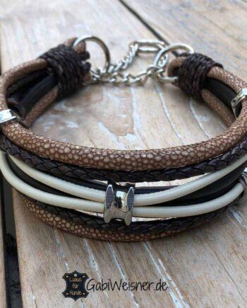 Hundehalsband Leder Mix in Beige/Braun. Bis 45 cm HU