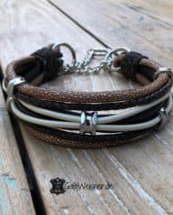 Hundehalsband-Leder-Mix-Beige-Braun-bis-45-cm-Halsumfang-2
