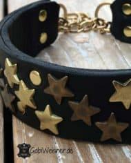 Hundehalsband-Leder-Schwarz-Sterne-Gold
