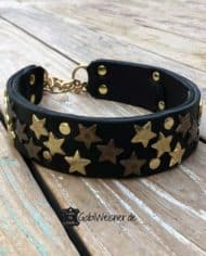 Hundehalsband-Leder-Schwarz-Sterne-Gold-Zugstopp