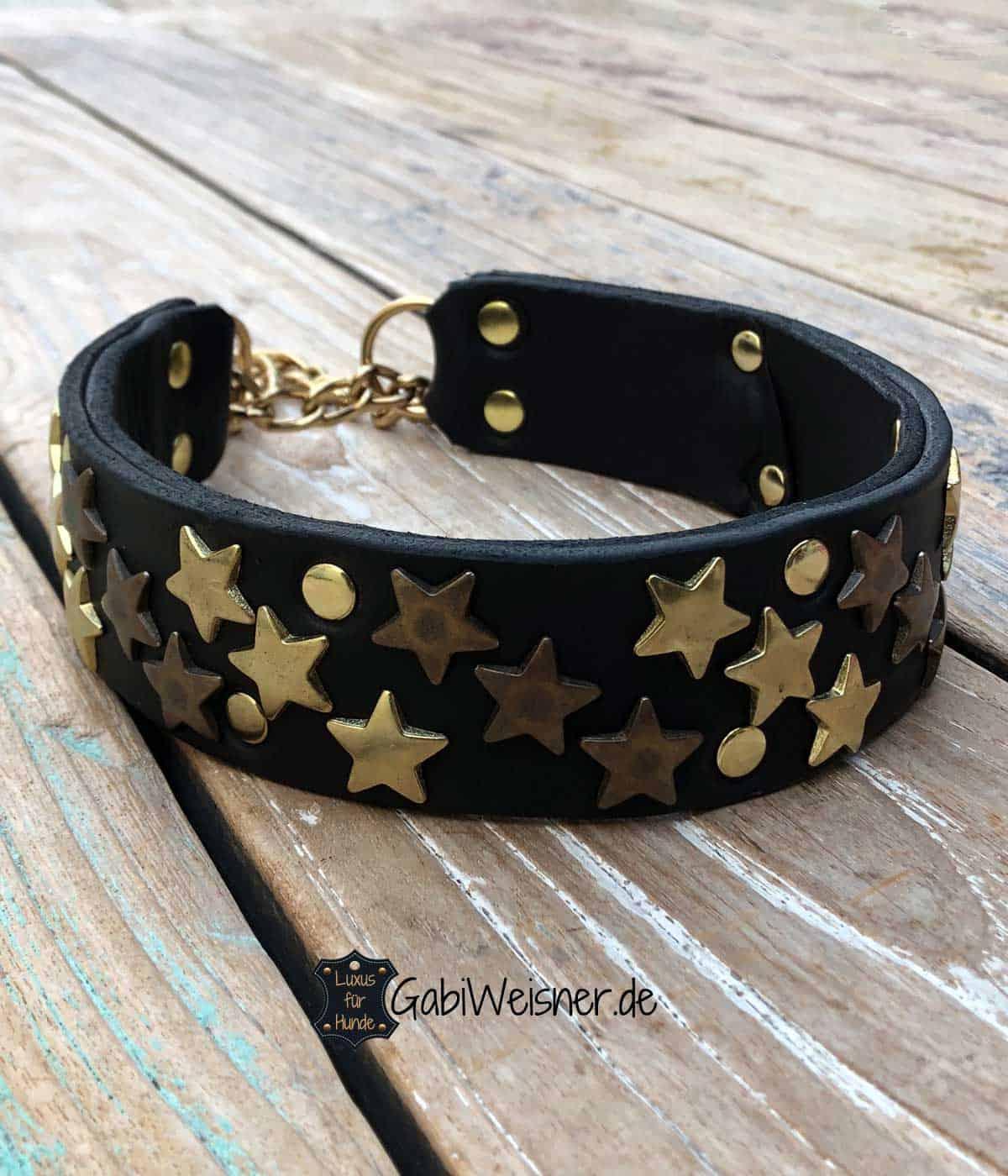 Hundehalsband Leder 4 cm breit. Sterne und Zugstopp in Gold
