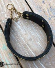 Hundehalsband-Leder-Schwarz-Sterne-Gold-Zugstoppkette