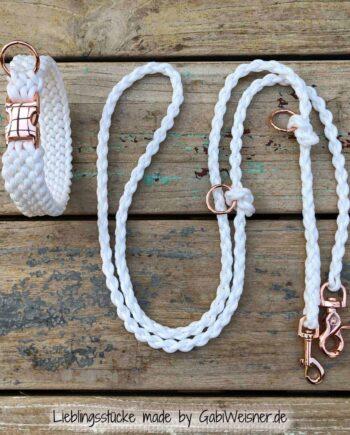 Hundehalsband in Weiß Rosegold mit Leine