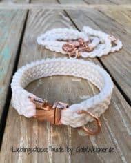 Hundehalsband-Weiß-Rosegold-Leine-Hochzeit-SET-3