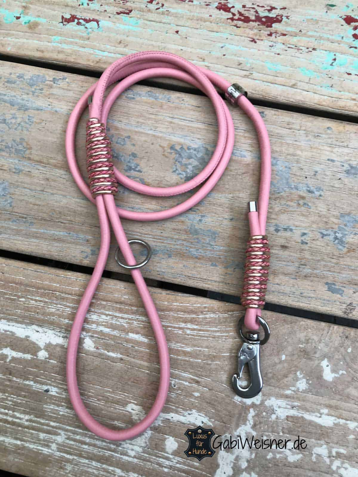 Nappalederleine in Rosa mit Handschlaufe 6 mm für kleine Hunde