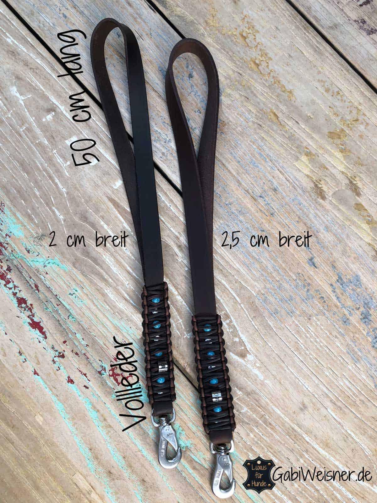 Kurze Hundeleine Leder 2 oder 2,5 cm breit geschnitten