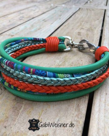Hundehalsband Hippie Look Leder Mix 6 cm breit