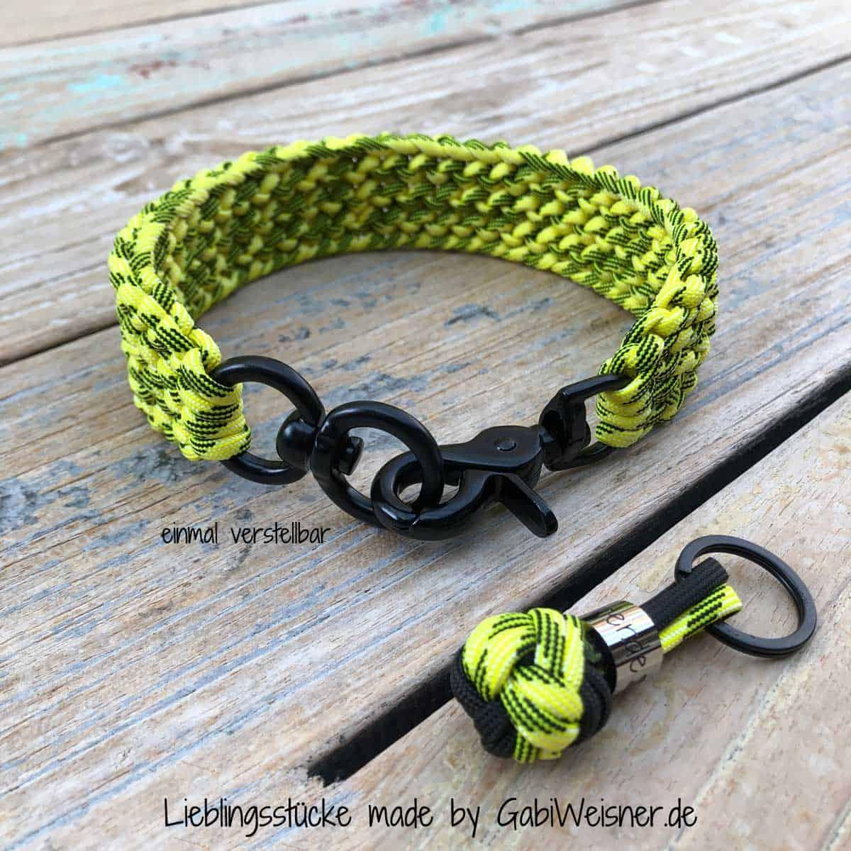 Hundehalsband in Schwarz-Gelb für mittelgroße Hunde