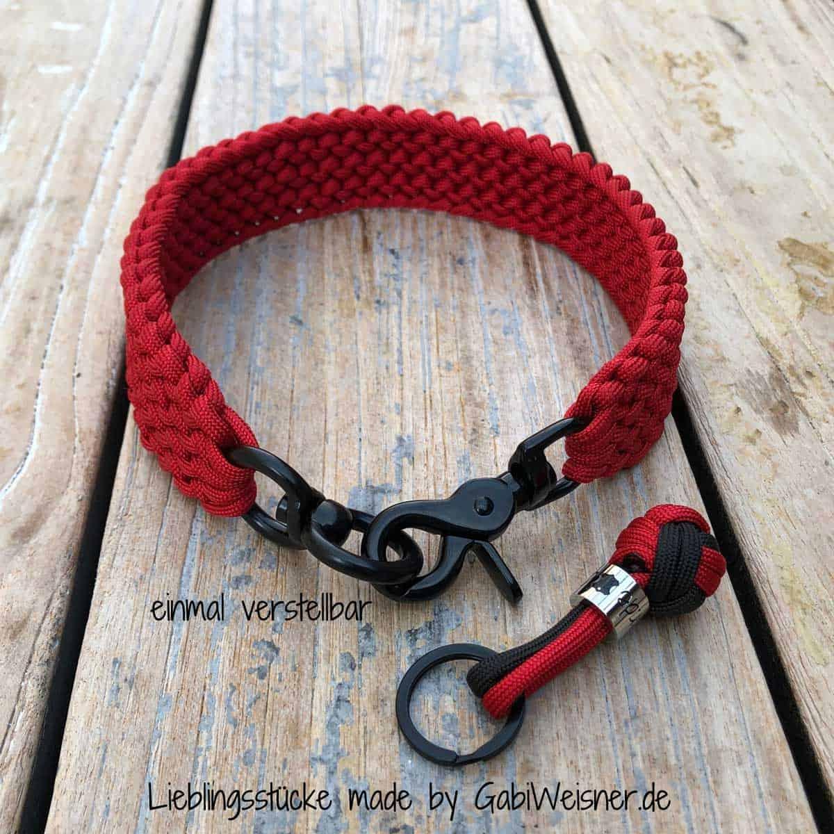 Hundehalsband in Schwarz-Rot für mittelgroße Hunde
