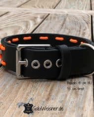 Hundehalsband-Schwarz-Orange-Leder-verstellbar-1