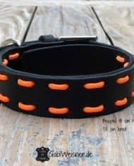 Hundehalsband-Schwarz-Orange-Leder-verstellbar-2