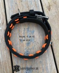 Hundehalsband-Schwarz-Orange-Leder-verstellbar-3
