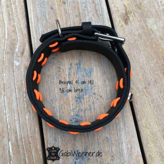 Hundehalsband Schwarz Orange Leder verstellbar 3,5 cm breit