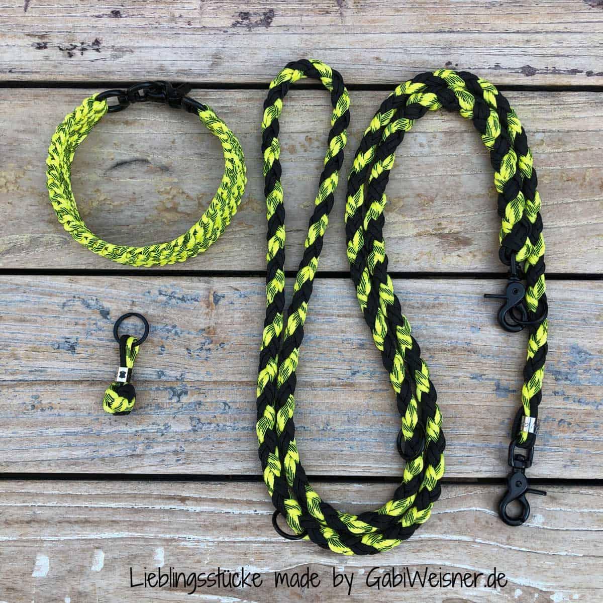 Hundehalsband SET in Schwarz-Gelb für mittelgroße Hunde