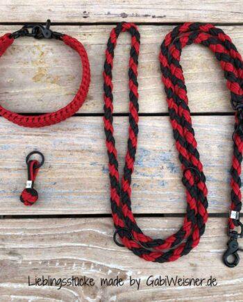 Hundehalsband SET in Schwarz-Rot für mittelgroße Hunde