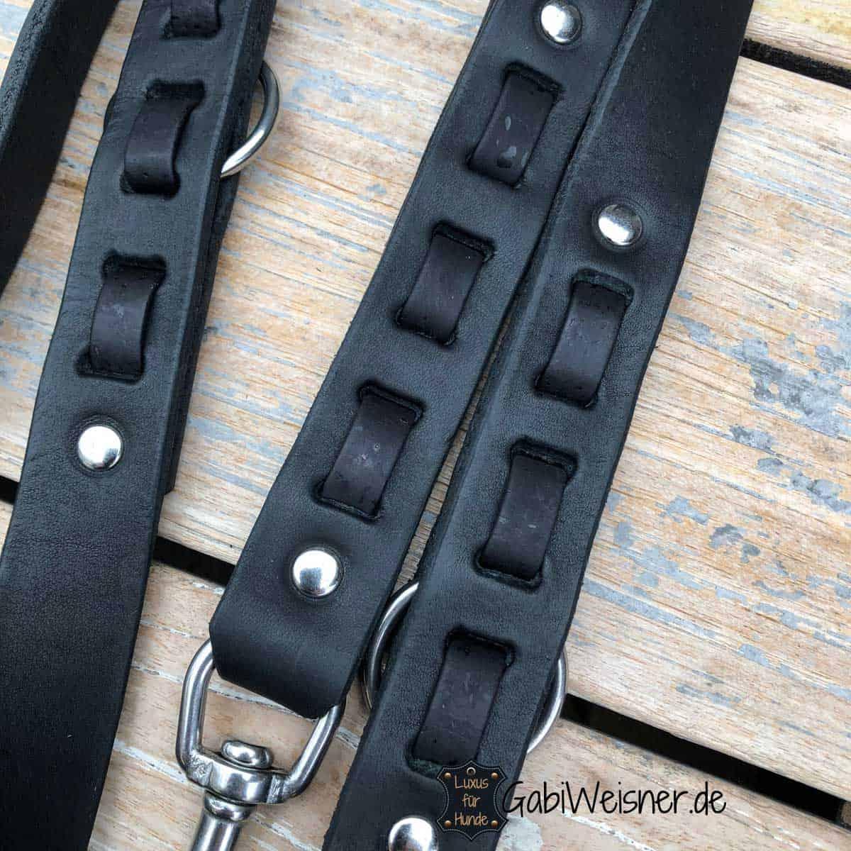 Hundeleine Leder und Kork in Schwarz oder nach Wunsch