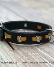 Halsband-Hund-Leder-3-cm-breit-gelb