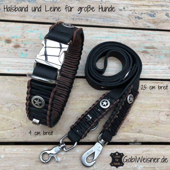 Halsband mit Klickverschluss und Leine aus Leder für große Hunde