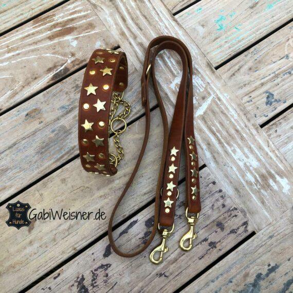 Zugstopp Halsband und Leine aus Leder, dekoriert mit Sternen