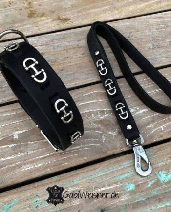 Hundehalsband Trense. SET aus Leder und Kork in Schwarz