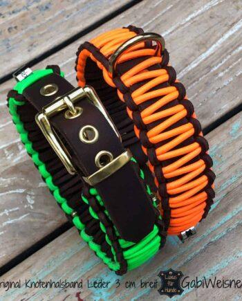 Hundehalsband Neon. Leder 4 cm breit, verstellbar