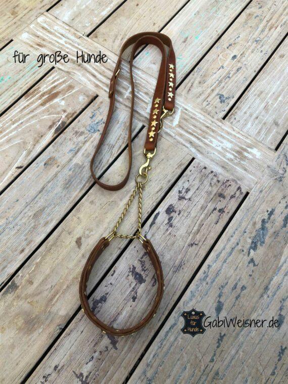 Zugstopp Halsband und Leine aus Leder, dekoriert mit Sternen.